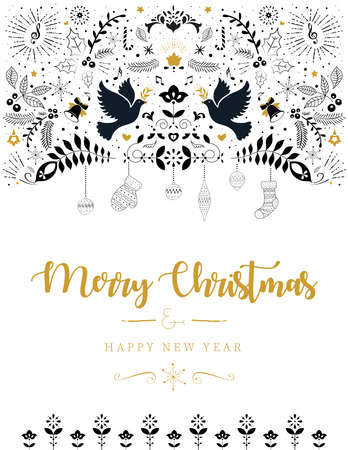 Christmas greeting card design template. Holiday lettering template. 矢量图像