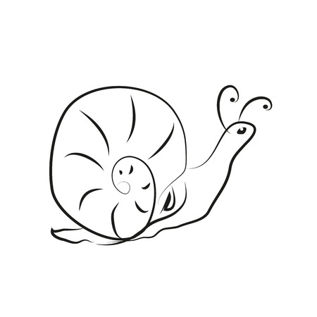 stylize: A stylized drawing of a snail. Stock Photo
