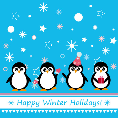 congratulations cards spice: Winter congratulatory poster with cartoon penguins and snowflakes.