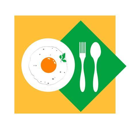 fried eggs: Fried eggs on a plate vector