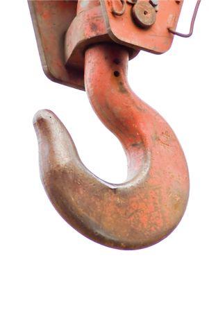 crane parts: Gancho de gr�a en el cable aislado en un fondo Foto de archivo