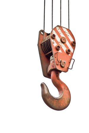 polea: Gancho de gr�a en el cable aislado en un fondo Foto de archivo