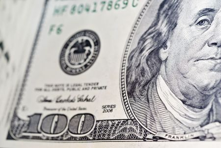 Paper bill worth $ 100 close-up