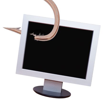 On the desktop computer and hooks Stock Photo