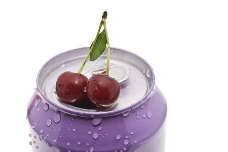Tin - drop of water on the ripe red cherries photo