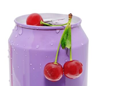 Ripe red cherries lie on a tin Stock Photo - 5213164