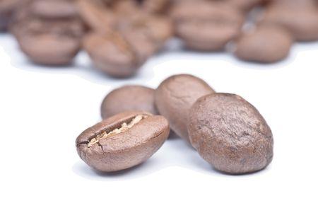 Three macro picture of coffee beans Stock Photo - 5255478