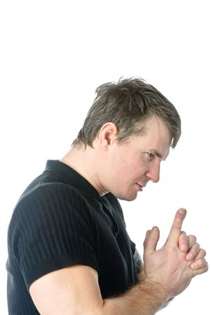Absorbed man looks at his hands Stock Photo - 6393072