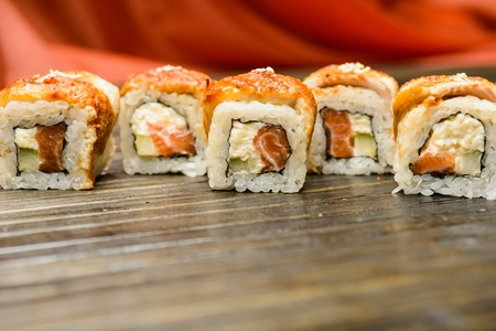 Sushi, maki - easy and quick snack in the restaurant photo