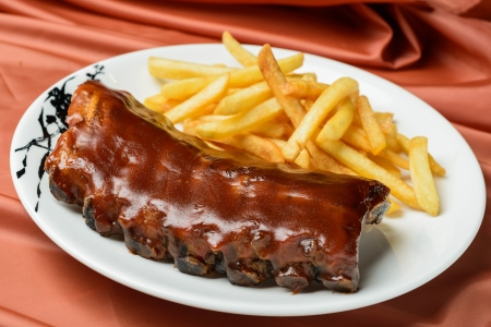 grilled ribs and fried potatoes Stock Photo - 17072818