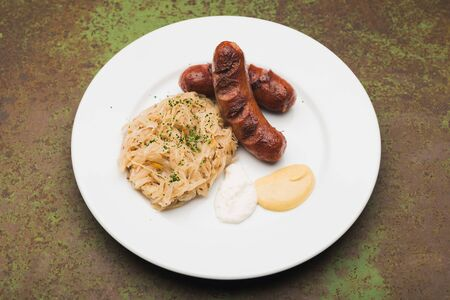 grilled sausages and sausage on a plate Stock Photo - 17106454