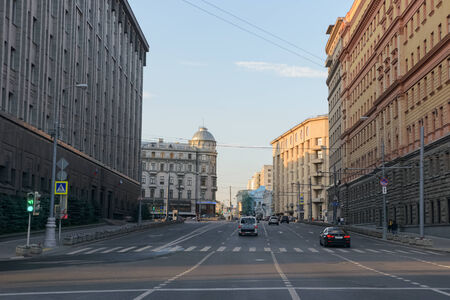 Car travel through the streets. August 28, 2014, Moscow, Russia