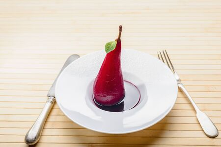 wine sauce: pear in sweet wine sauce Stock Photo
