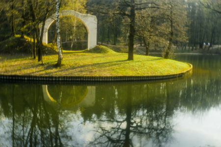 modernism: Pictorial Photography in Tsaritsyno park, Moscow. In taking pictures to use simple objective monocle. Photographic imperfect lens, the presence of numerous aberrations, gives the photos a special lightness and softness at a sufficiently high image detail. Stock Photo