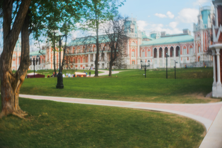 sufficiently: Pictorial Photography in Tsaritsyno park, Moscow. In taking pictures to use simple objective monocle. Photographic imperfect lens, the presence of numerous aberrations, gives the photos a special lightness and softness at a sufficiently high image detail. Stock Photo