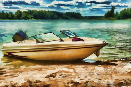 motor boats: Motor boats on the beach of the sea
