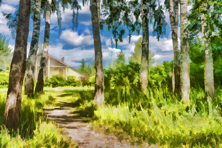 Impressionism- the path to an apartment house in the woods