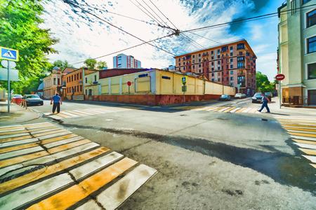 lyrical: Lyrical abstraction of cross-street urban digital watercolor drawing stylization Stock Photo