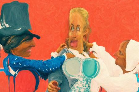 Digital sketch illustration- womens historical costume. Artwork painting style. Friendly cartoon. Stock Photo
