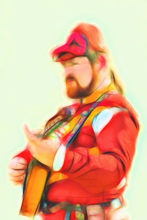 bard: Art illustrated images - minstrel in historical costume. Bard plays and sings a song