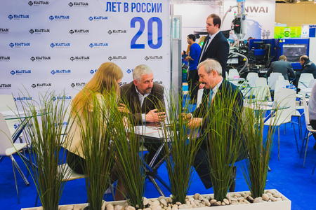 expositor: MOSCOW - January 25: Interplastica 2017. 20th International Trade Fair Plastics and Rubber- Fairgrounds Presnya exhibition complex. Machinery and equipment for production and processing of plastics.