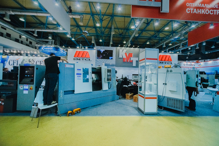 MOSCOW, RUSSIA, Expocentre - MAY 15-19, 2017: 18th international specialized exhibition Equipment, instruments.  and tools for Metalworking industry. Expo booth of the company- cutting machine.