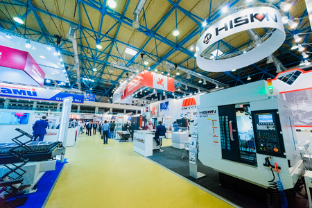 MOSCOW, RUSSIA, Expocentre - MAY 15-19, 2017: 18th international specialized exhibition Equipment, instruments.  and tools for Metalworking industry. Expo booth of the company.
