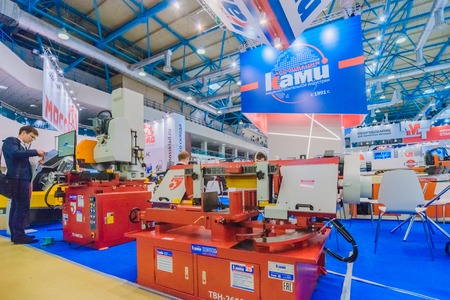 MOSCOW, RUSSIA, Expocentre - MAY 15-19, 2017: 18th international specialized exhibition Equipment, instruments.  and tools for Metalworking industry. Booth display metal cutting machines company KAMI