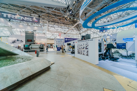 MOSCOW, RUSSIA, Expocentre - MAY 15-19, 2017: 18th international specialized exhibition Equipment, instruments.  and tools for Metalworking industry.