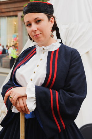 historical events: MOSCOW, RUSSIA - June 1-12, 2017: International festival Times and epochs. The meeting. Female reconstructor - member of the historic show