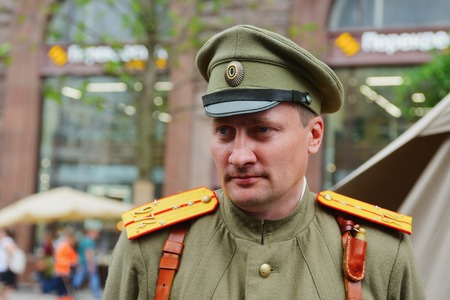 historical events: MOSCOW, RUSSIA - June 1-12, 2017: International festival Times and epochs. The meeting. Russian officer of the first world war