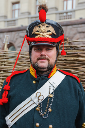historical events: MOSCOW, RUSSIA - June 1-12, 2017: International festival Times and epochs. The meeting. Ceremonial uniforms of the Russian army of the sample of 1812 Editorial