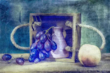 Still life- naive art painting. Artwork illustration- abstract drawing on canvas Stock Photo