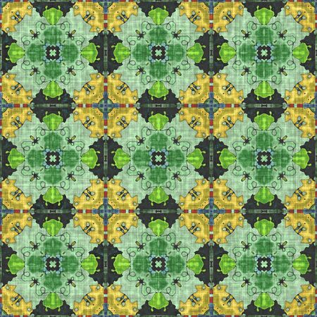 Kaleidoscope- mirrored geometric elements. Artwork- seamless pattern. Mosaic background- ornament graphics.