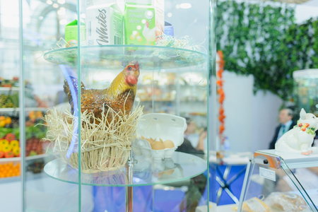 Moscow, Russia, Expocenter VDNH - OCTOBER 4-7, 2017: Russian agro-industrial exhibition Golden autumn. Business stand the poultry industry- chicken and eggs. Editorial