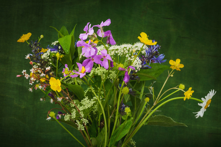 Still life beautiful wild flowers. Natural bouquet- blooms in summer.