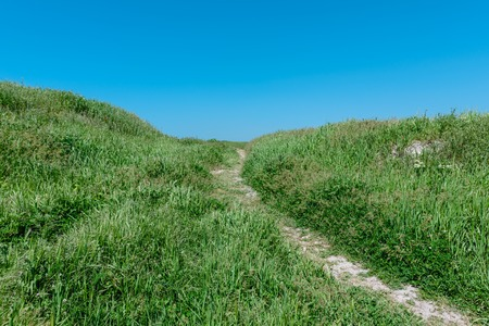 Summer landscape- path on the hill at the national archaeological park Stock Photo