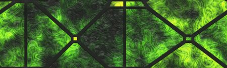 Wall glass- nature. Stained art- abstract pattern. Art decor- metal grate.