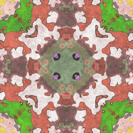 Art work for interior decoration of rooms- geometric pattern. Wall murals- ornament home decor. Ornate illustration. Abstract kaleidoscope- print using napkins, tablecloths, other printed material