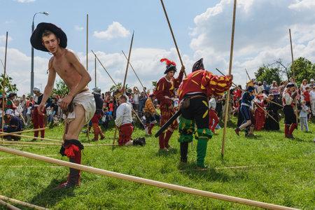 Moscow, Russia, Festival of historical reconstruction - JUNE 21-23, 2013: Landsknecht - german mercenary infantry of the Renaissance. Battle scene reenactors. Editorial
