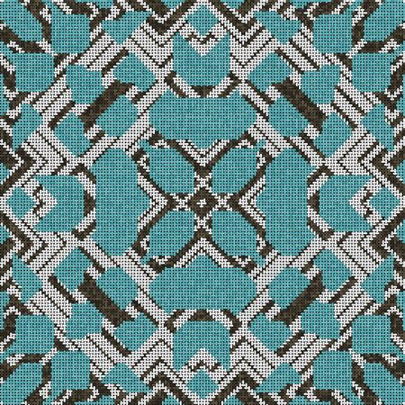 Cross stitch- abstract art. Fashion geometry- ornament mosaic. Textile decor- embroidery pattern.