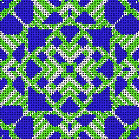 Cross stitch- abstract art. Fashion geometry- ornament mosaic. Textile decor- embroidery pattern.