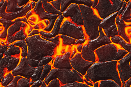 Background lava. Burning coals- crack surface. Abstract nature pattern- glow faded flame. Danger terrain- 3d illustration volcanic. Standard-Bild