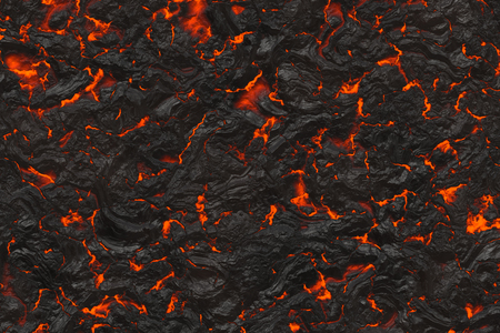 Hot lava. Burning coals- crack surface. Abstract nature pattern- glow faded flame. Danger terrain- 3d illustration volcanic.