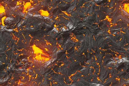 Ground hot lava. Burning coals- crack surface magma. Abstract nature pattern- glow faded flame. Danger terrain- 3d illustration volcano eruption