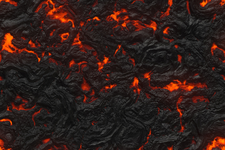 Ground hot lava. Danger terrain- 3d illustration volcano eruption. Burning coals- crack surface. Abstract nature pattern- glow faded flame.