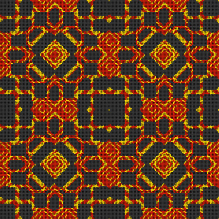 Cross stitch- abstract art. Fashion geometry- ornament mosaic. Textile decor- embroidery pattern. Stock Photo