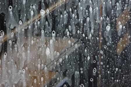 Background wet- raindrop realistic. Water splash shower- bad weather. Window- soap foam. Rainwater- liquid splash abstract