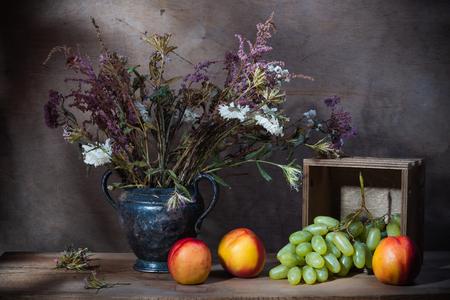 Still life decorative- flower beautiful bouquet. Wood background.