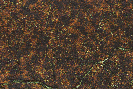 Copper metal texture background- destroyed structure. Abstract design. Rusty iron-  industrial vintage, corrosion blank. Pattern crack- material weathered. 3D rendering illustration